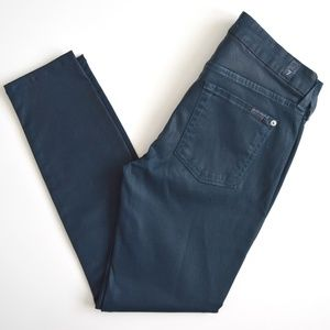 7 For All Mankind Coated Skinny Jeans Blue